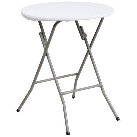24 Round Granite White Plastic Folding Table Round Folding