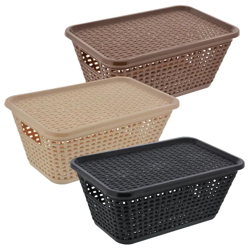 Essentials Plastic Woven Looking Storage Baskets Storage Baskets