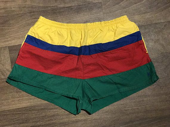 a7028e00e5 Vintage POLO by RALPH LAUREN Men's Swimming Trunks / Red Yellow Green Blue  Stripes / Colorblock Swim Shorts / Trendy Men's Summer Fashion