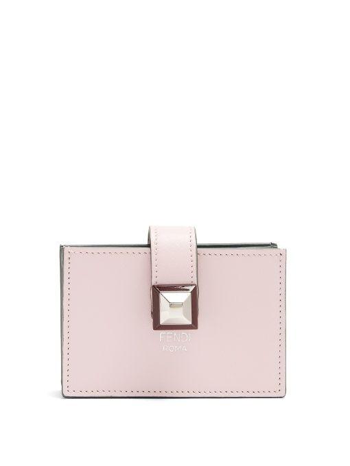 pink logo leather cardholder Fendi 8ifkt