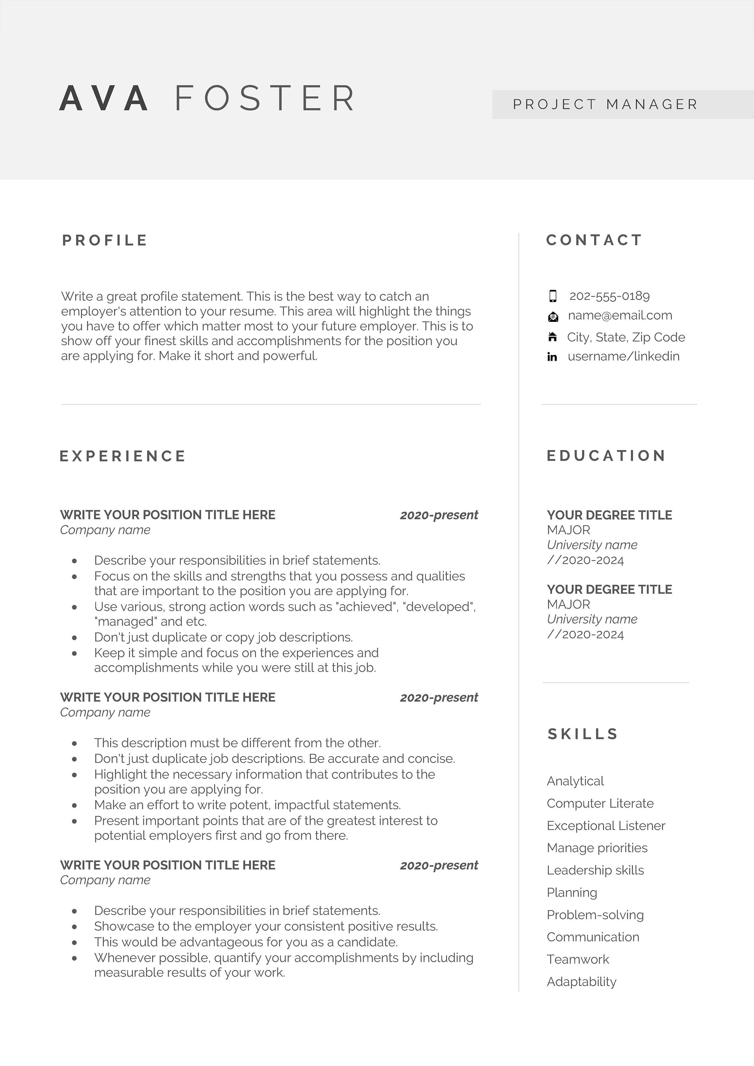 Professional resume template, Resume template, Resume