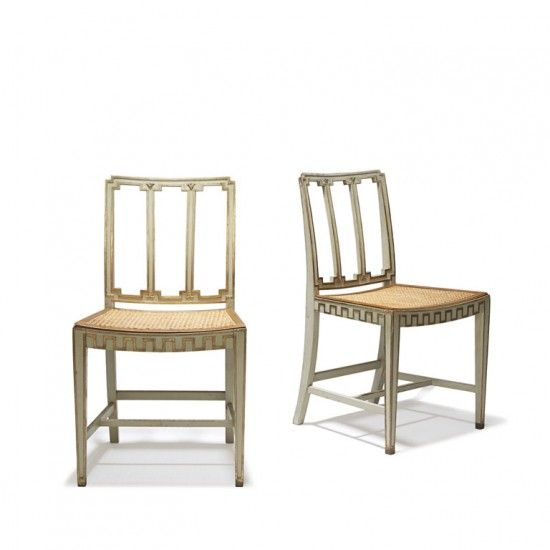 Gallery BAC | Set of ten Nordic Modern Classicism dining chairs in painted wood