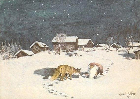 The Tomten And The Fox Postcard Fairy Art Nordic Art Art