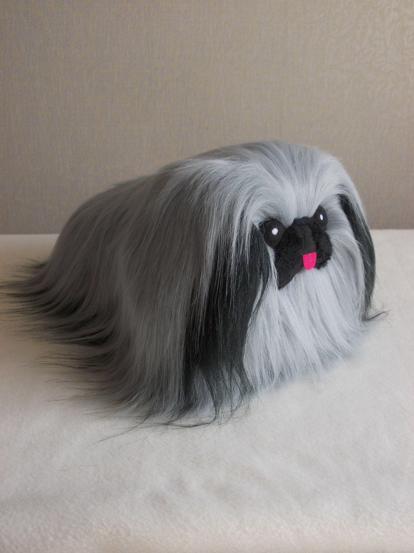 Pekingese stuffed animal, slate grey fur dog, ISABELLE by