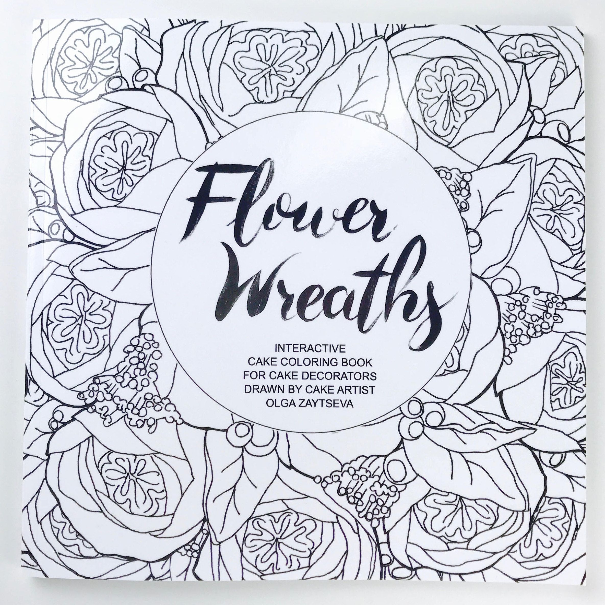 Adult Coloring Book | Flower wreaths interactive cake coloring book ...