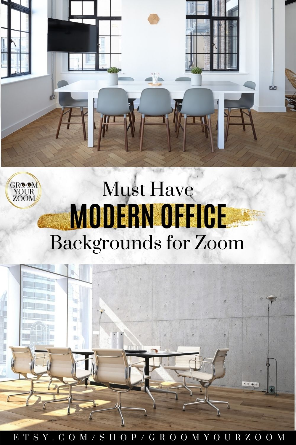 Modern Office Zoom Background 4 Virtual Photos For Video Call Professional Background Online School Stock Photo Digital Download In 2020 Modern Office Virtual Environment Modern