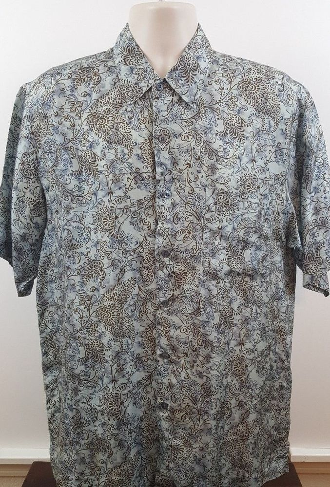 Firethorne Men's 100% Silk Blue and Brown Paisley Button Front Shirt Size Medium #Firethorne