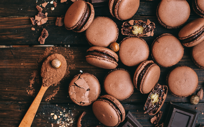 Download Wallpapers Chocolate Macaroons Biscuits Chocolate Biscuits Sweets Baked Goods Besthqwallpapers Com Cioccolato Biscotti Al Cioccolato Dolciumi