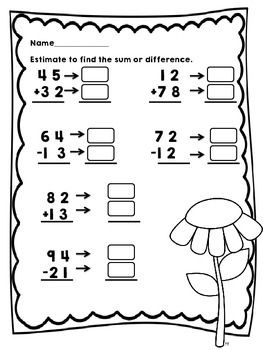 regrouping  estimation with addition and subtraction  math  spring themed double digit addition and subtraction with estimation   teacherspayteacherscom