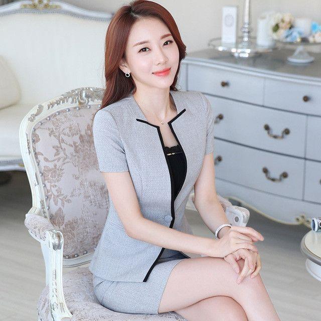 Summer Slim Work Wear Women S Skirt Suit Formal Las Office Plus Size Tooling Patchwork