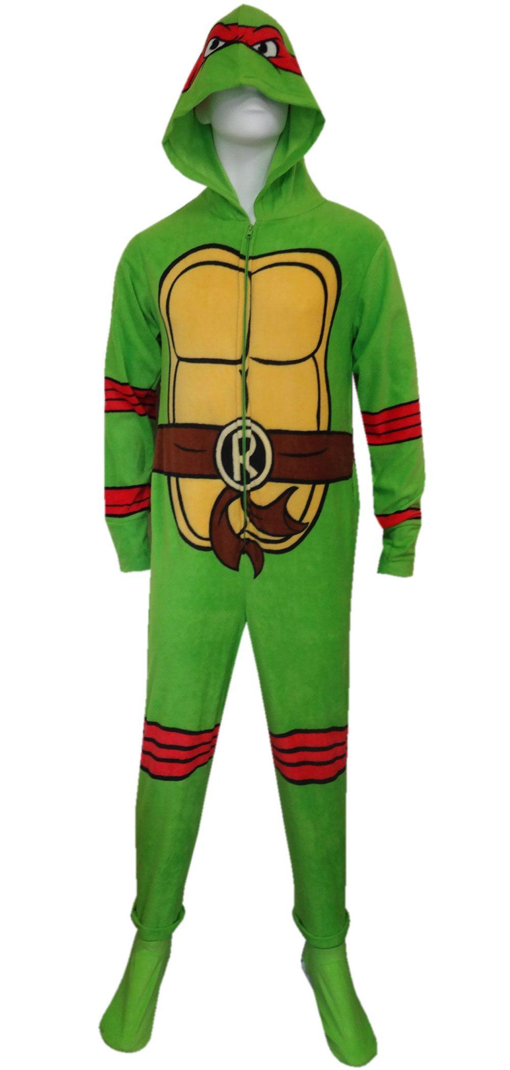 b16a17e09f WebUndies.com Teenage Mutant Ninja Turtle Raphael Fleece Onesie Pajama