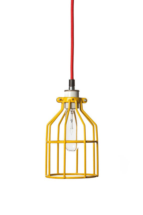 Industrial Lighting Yellow Wire Cage Light Pendant by IndLights ...