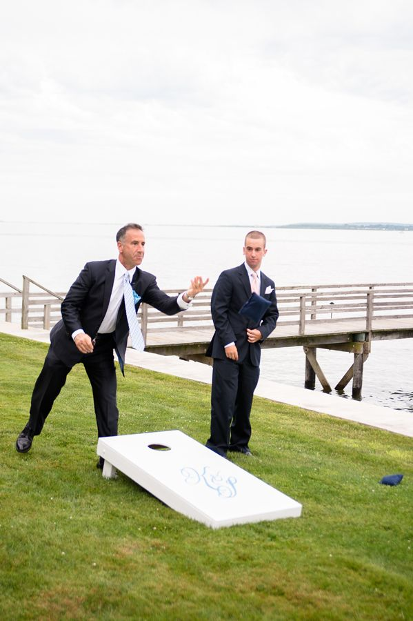 Create your own corn hole set for your guests to play during the cocktail hour. He Married the Girl Next Door: Katie and Sander's Wedding in Duxbury » Fucci's Photos of Boston | Boston Wedding Photographer
