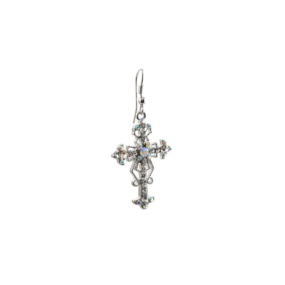 Vintage Silver Plated Cross Earring with Austrian Crystals and Textured Casting Elements|Amazon.com