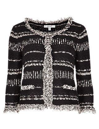 34 Sleeve Fringe Trim Cardigan | Per Una | M&S | Cardigan