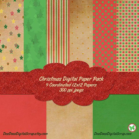 Christmas Digital Paper Pack 12x12 Textured by DeeDoosDigitalScrap