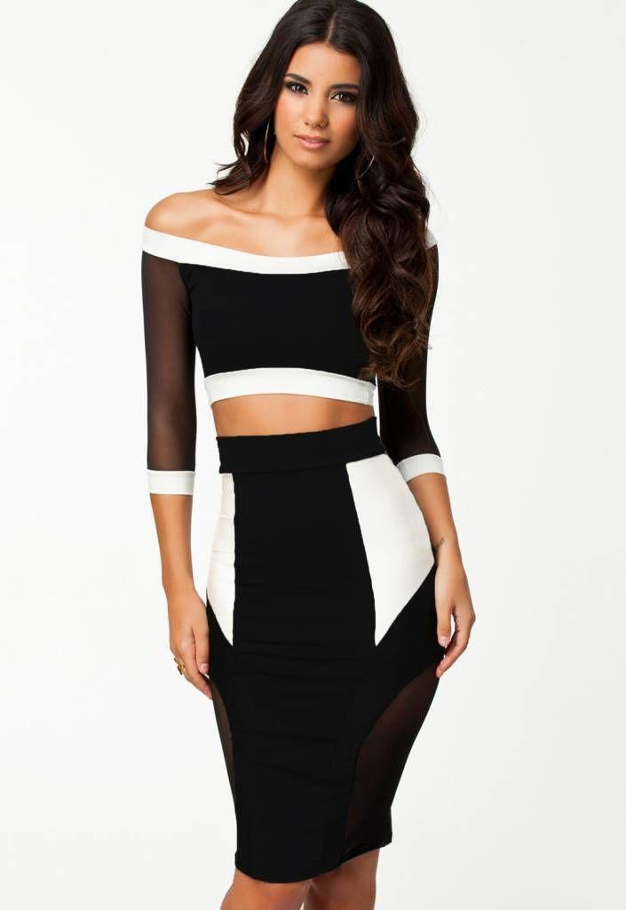 Welp 2 delige jurk | 2 delige jurk Zwart/ wit - Jurk zwart, Jurken en LA-88