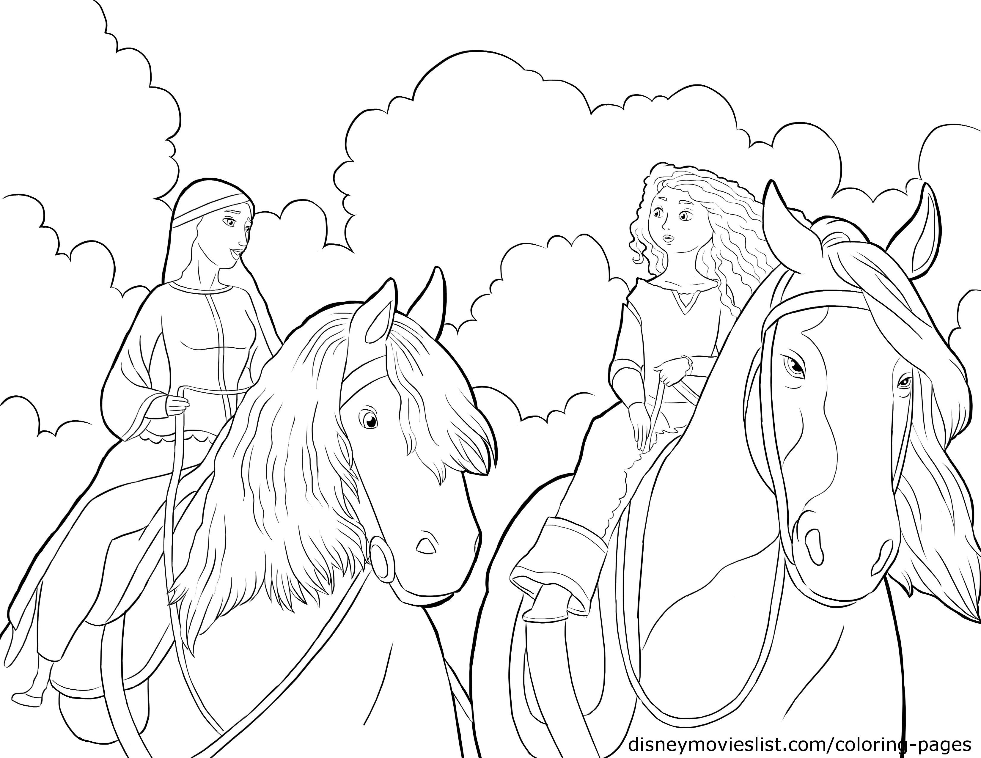 braves merida and queen elinor coloring pages - Brave Coloring Pages