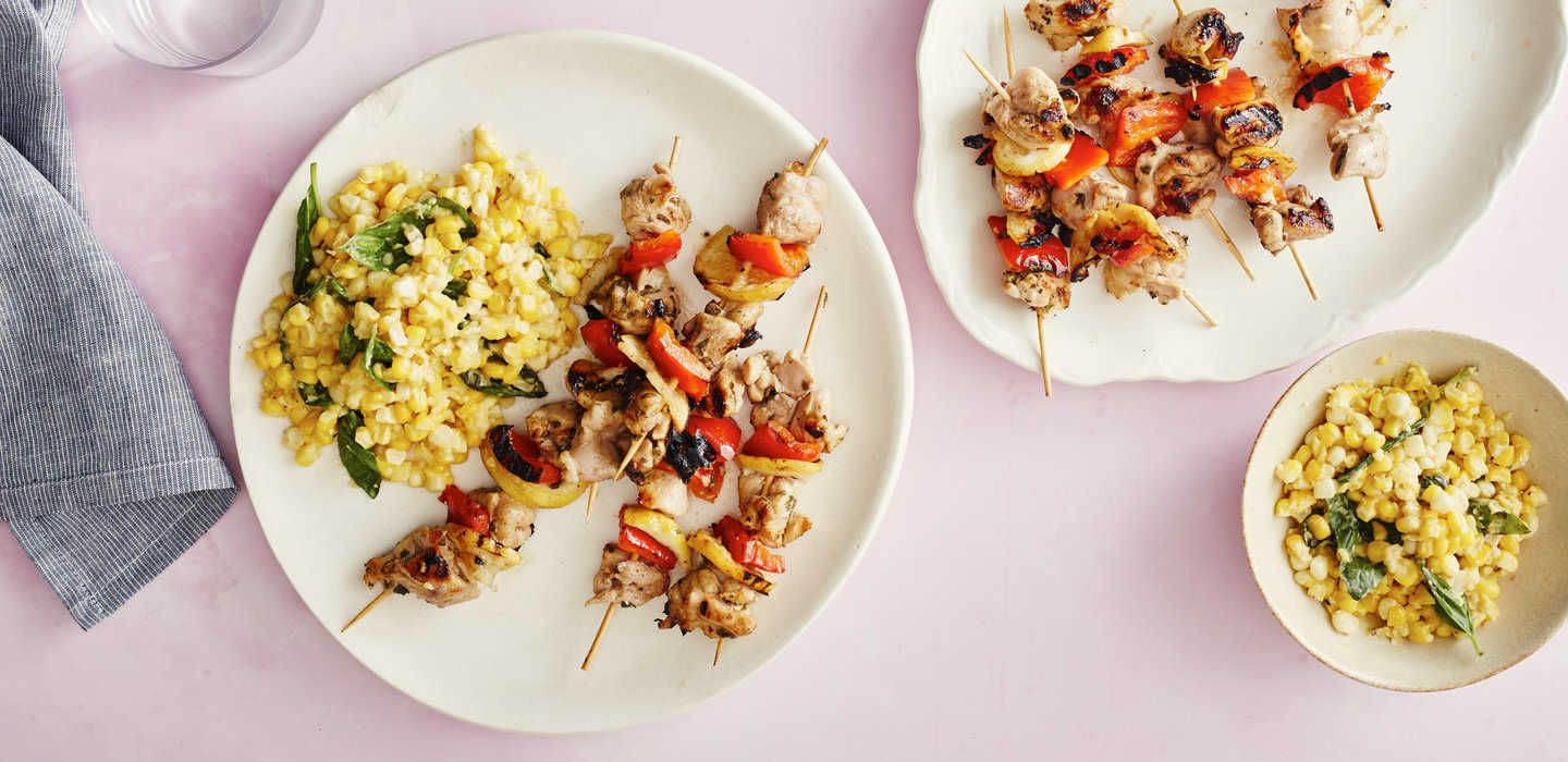 ✔PLATED | Oregano Chicken Kebabs with Creamy Basil Corn | CATEGORIES main course, chicken