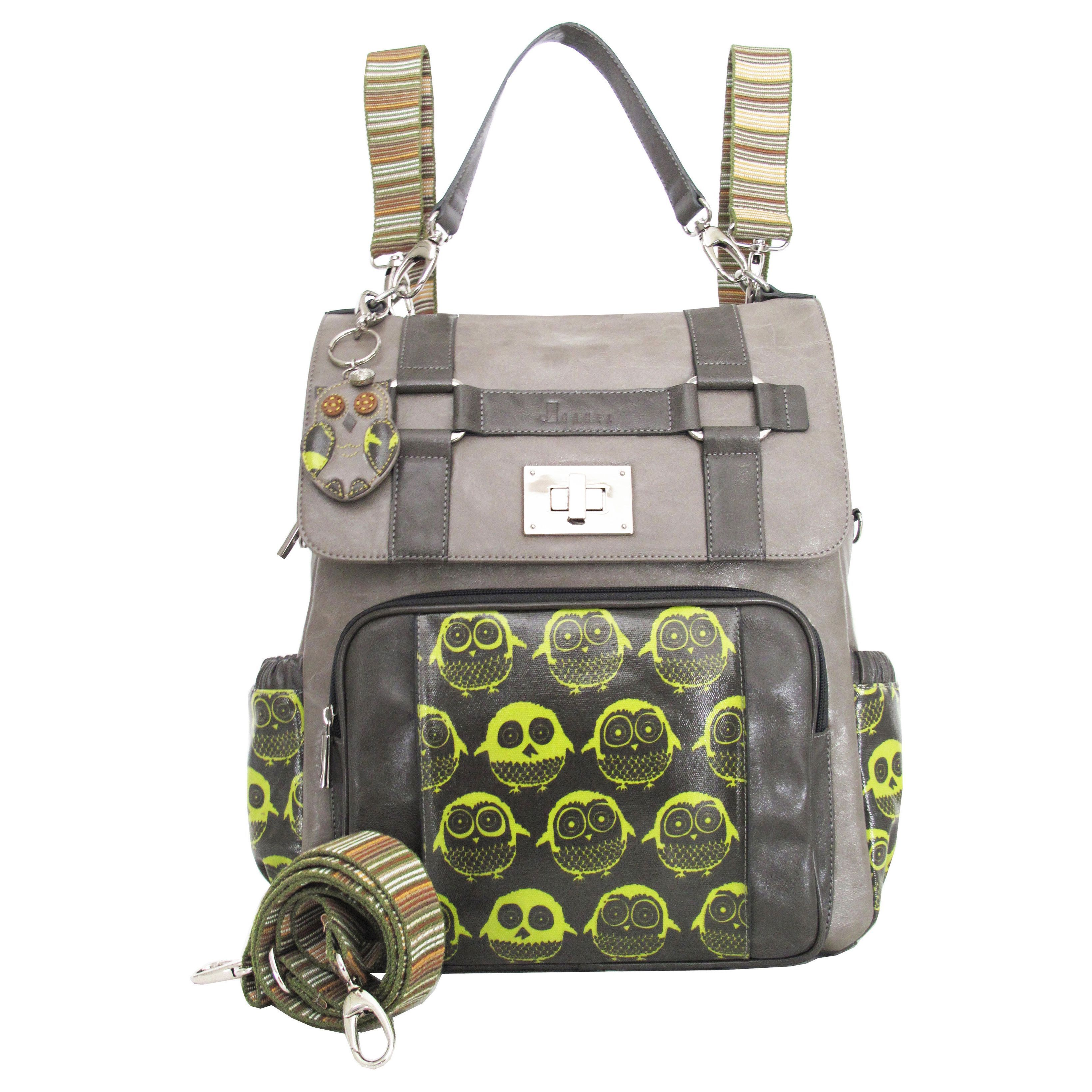 Joanel And Lime Green Owl Diaper Bag Backpack