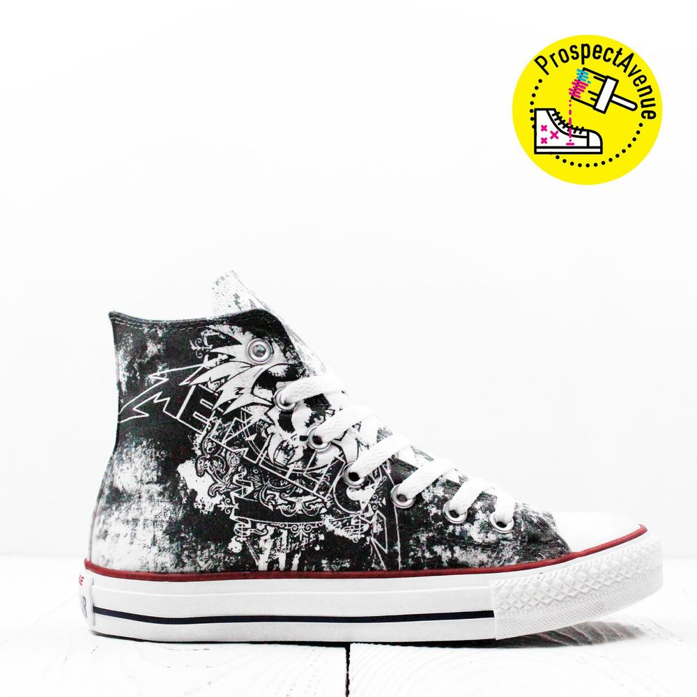 48937b1e1bf024 Metallica Custom high top Converse All Star sneakers printed lace up rock  shoes  Converse  CasualShoes