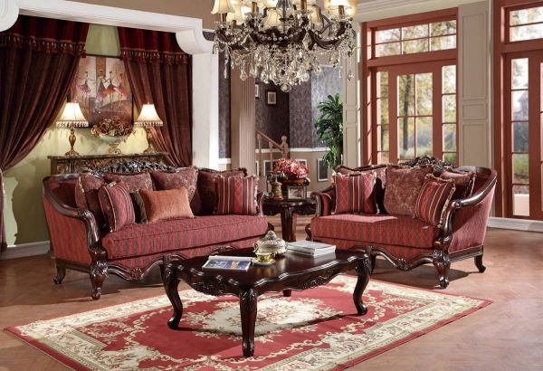 U2300 Series Red Fabric Solid Wood Living Room Set Living Room Sets Living Room Wood Wayfair Living Room
