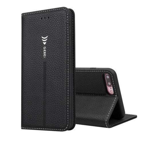 GEBEI Card Holder Leather Stand Cover for iPhone 7 Plus - Black