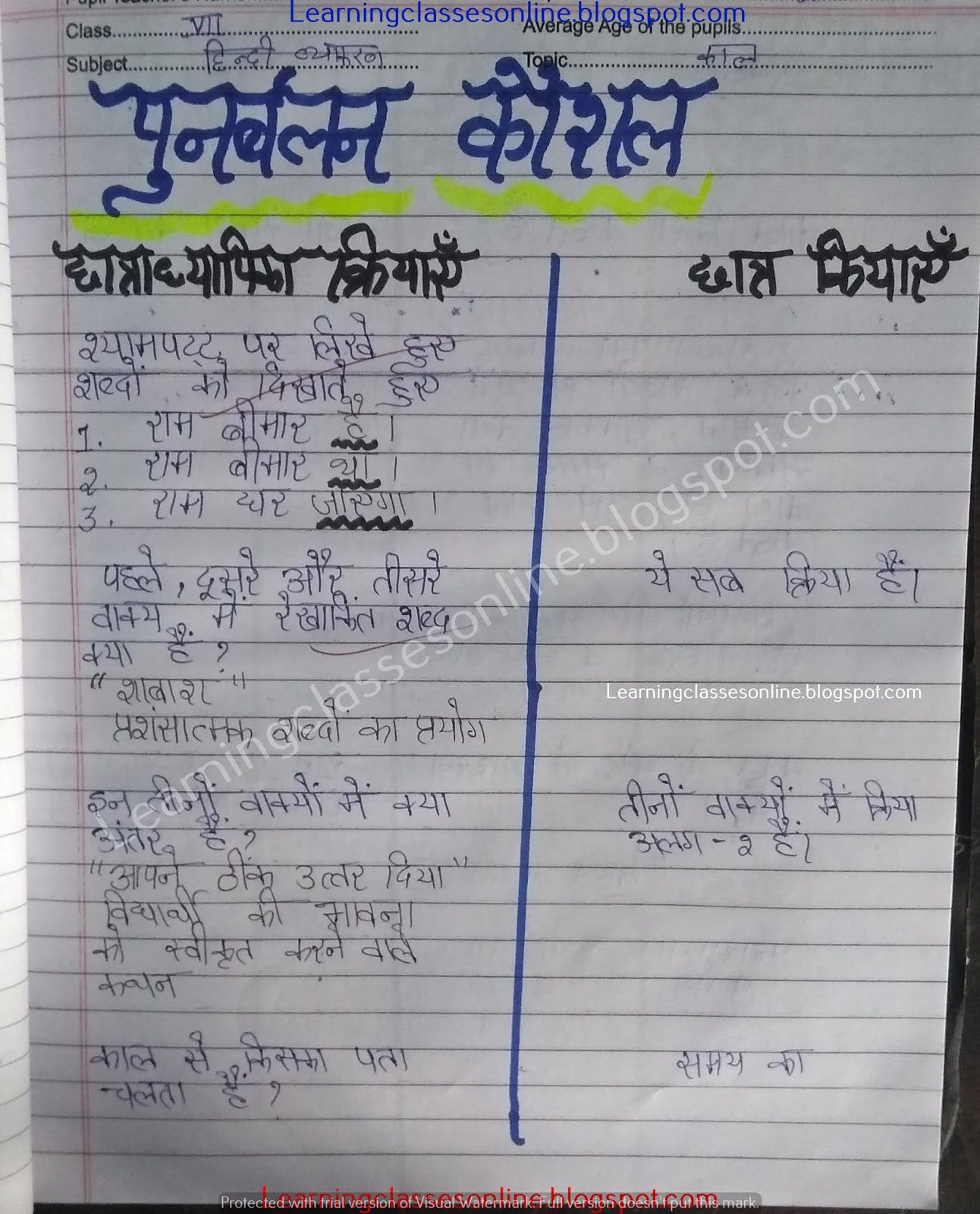 Microteaching Lesson Plan In Hindi On Punarbalan Kaushal For Teachers B Ed Deled Btc Stude In 2021 Teaching Lessons Plans Lesson Plan In Hindi Grammar Lesson Plans [ 1600 x 1292 Pixel ]