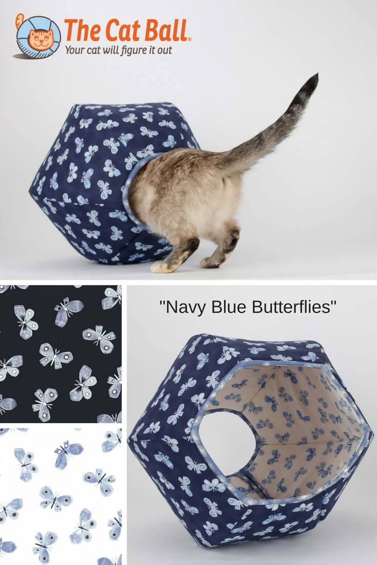 The Cat Ball Cat Bed Made In Navy Blue And White Butterflies Fabric The Cat Model Here Weighs 8 Pounds But Larger Cats Can Use This Bed Cats White Butterfly Blue Butterfly