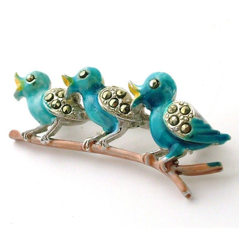 blue bird branch brooch
