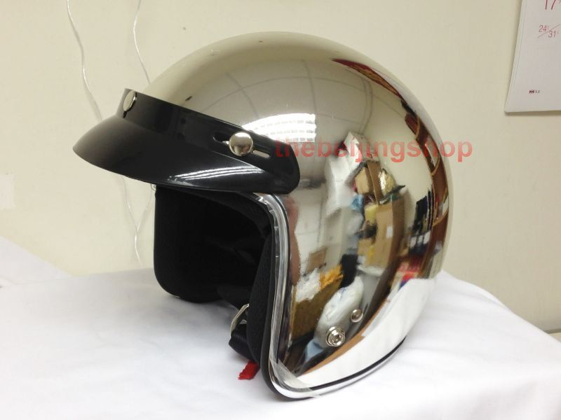 Chrome Silver Cafe Racer Bobber Motorcycle Helmet Bubble Jet Open Face
