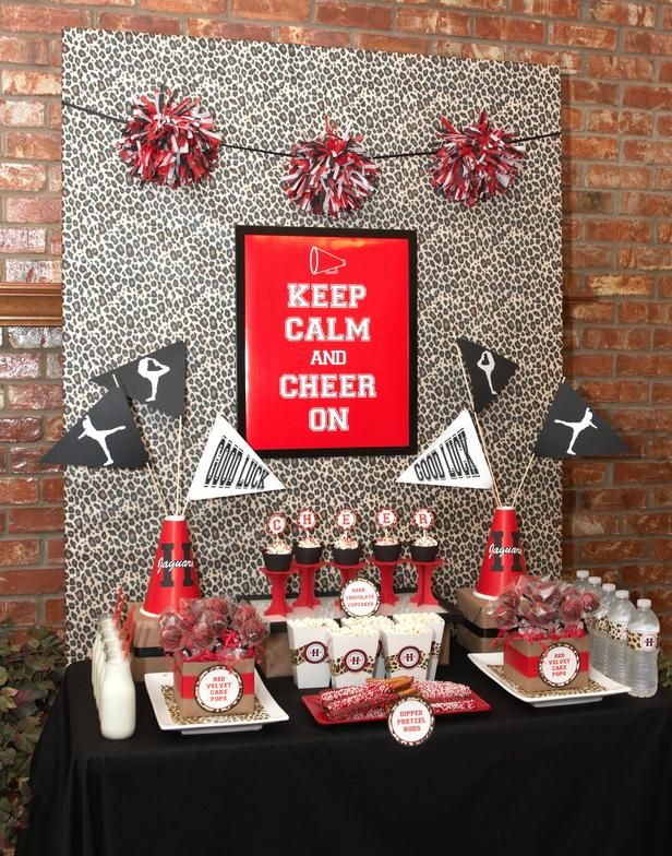 Dessert table event photos first birthday table cheer for Cheerleading decorations