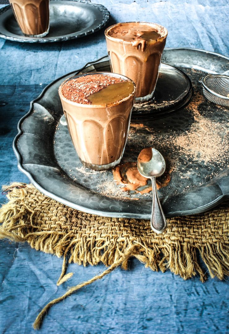 Chocolate Kahlua Mousse with Salted Caramel Sauce