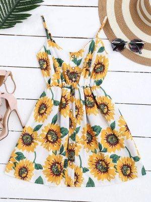 d8f6408e7 Mini Vestido Floral De Bata Con Tirantes Finos Con Botones - Blanco ...
