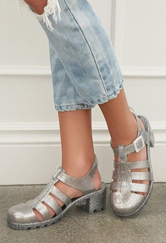 19fe6648cc29 Glittered Jelly Sandals | FOREVER21 - o my the 80's r back...luv the sandals