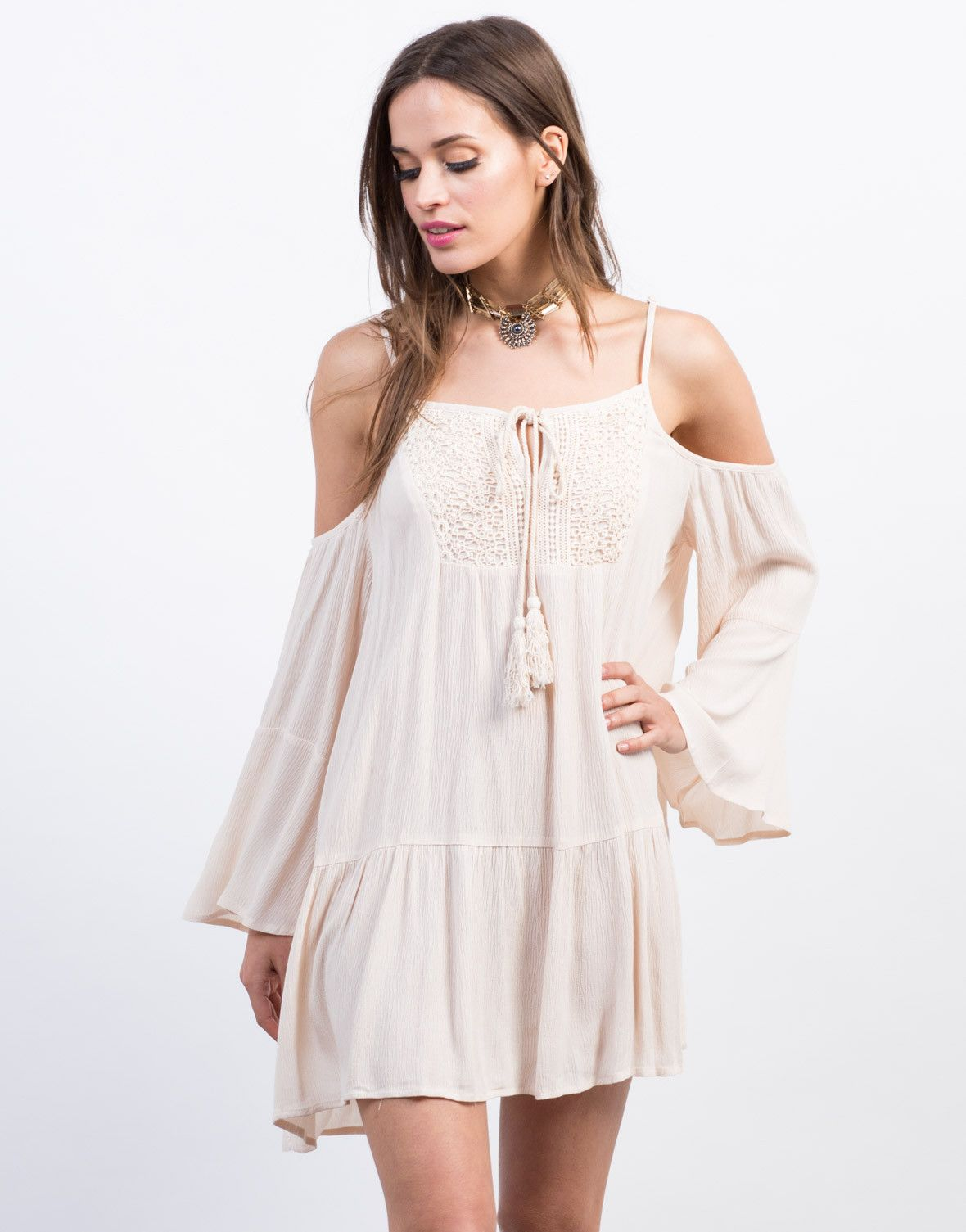8da51779d78e This Boho Cold Shoulder Tunic Dress will take you casually from day to  night. Comes in a black or light peach color of your choice.