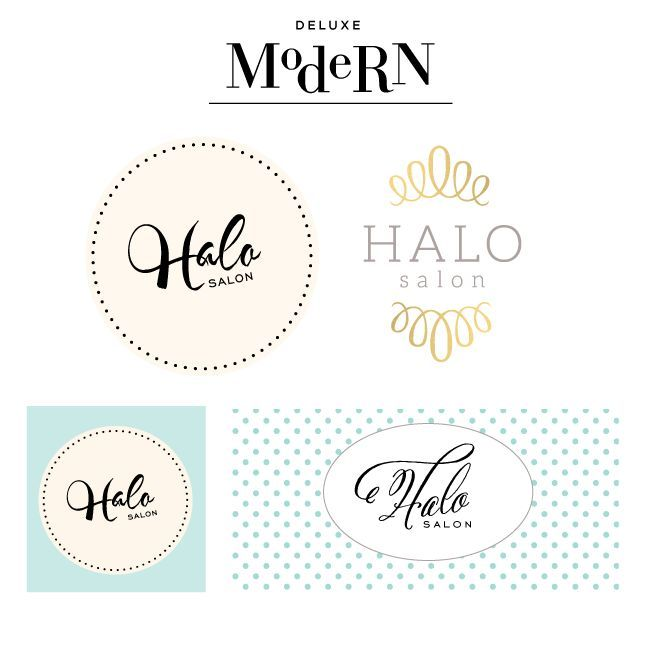 deluxemodern custom logo design comps for halo salon - Nail Salon Logo Design Ideas