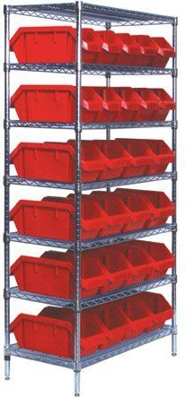 Quantum Storage Systems W7 12 28rd 7 Tier Complete Wire Shelving System With 20 Qp1265 And 8 Qp1285 Red Quickpick Bins Ch Wire Shelving Storage System Storage