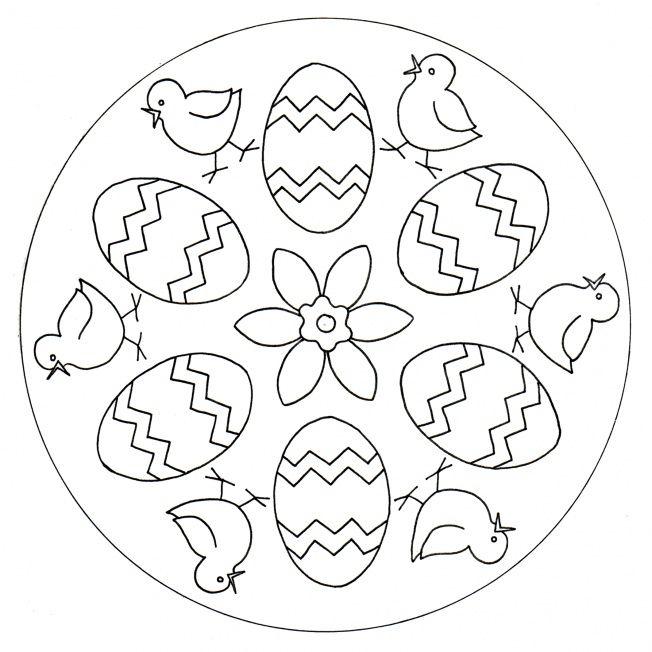easter eggs and chicks mandala  pagine da colorare