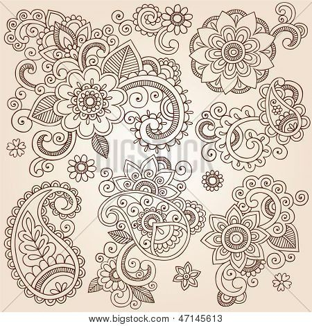 Tatuaje de henna Paisley flores Mehndi Doodles elementos del diseño ...
