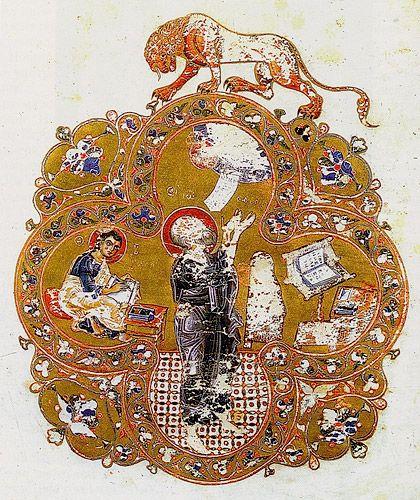 Остромирово Евангелие (РНБ. F.п.I.5). Евангелист Иоанн с Прохором