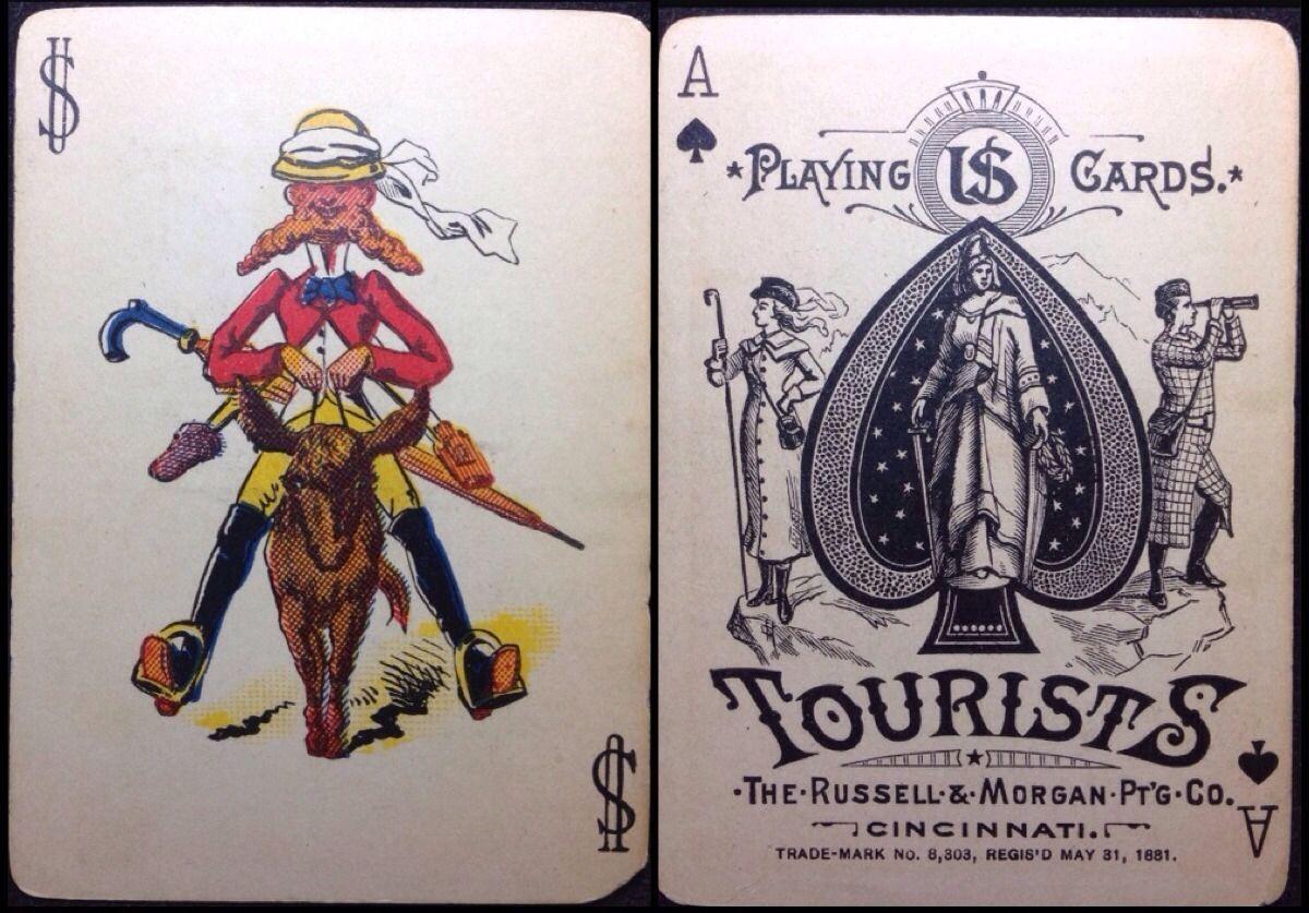 1886 Tourists Russell Morgan PTG Antique Poker Playing Cards 52 Joker BOX | eBay