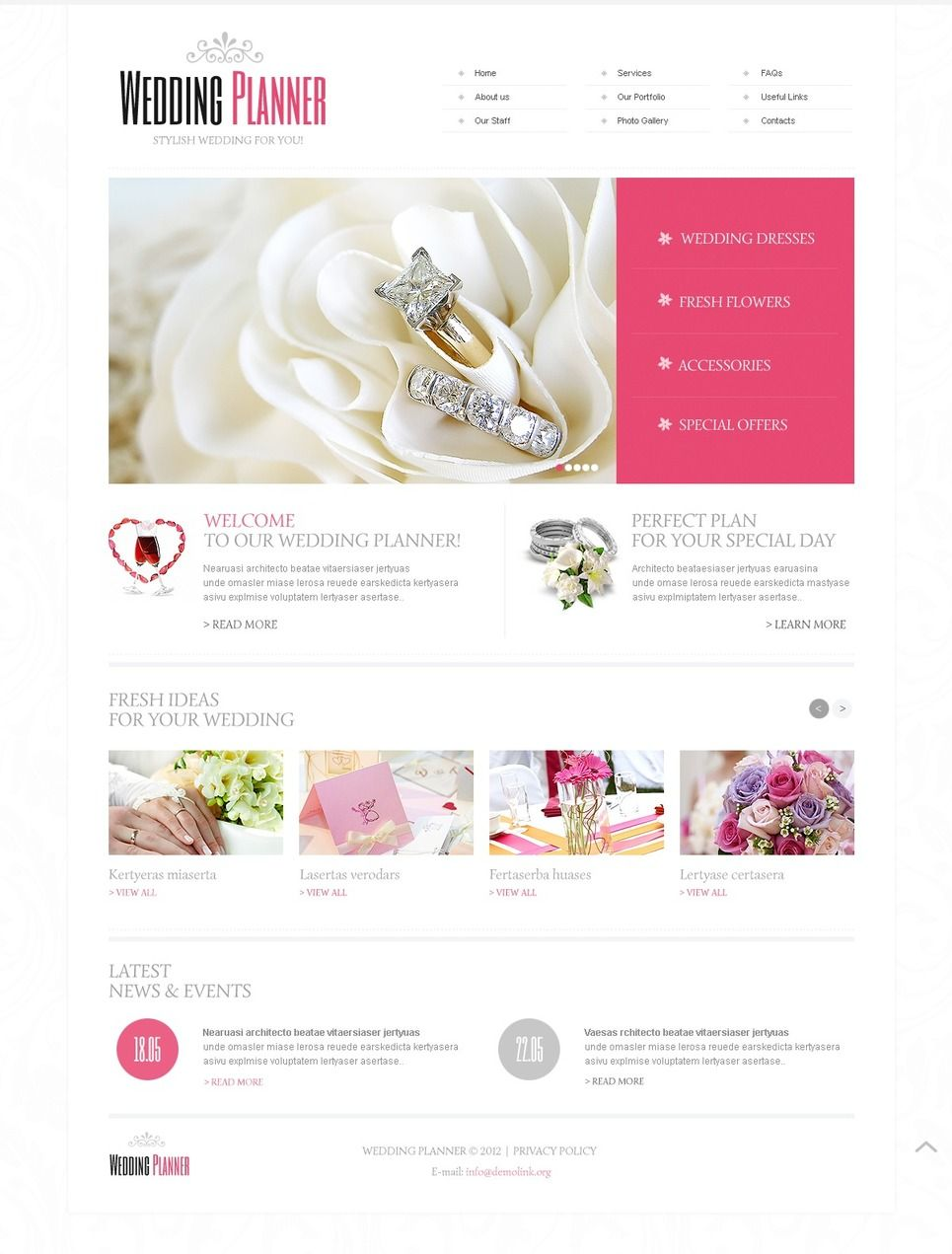 Wedding Planner Facebook HTML CMS Template #42243 | Flyer Templates