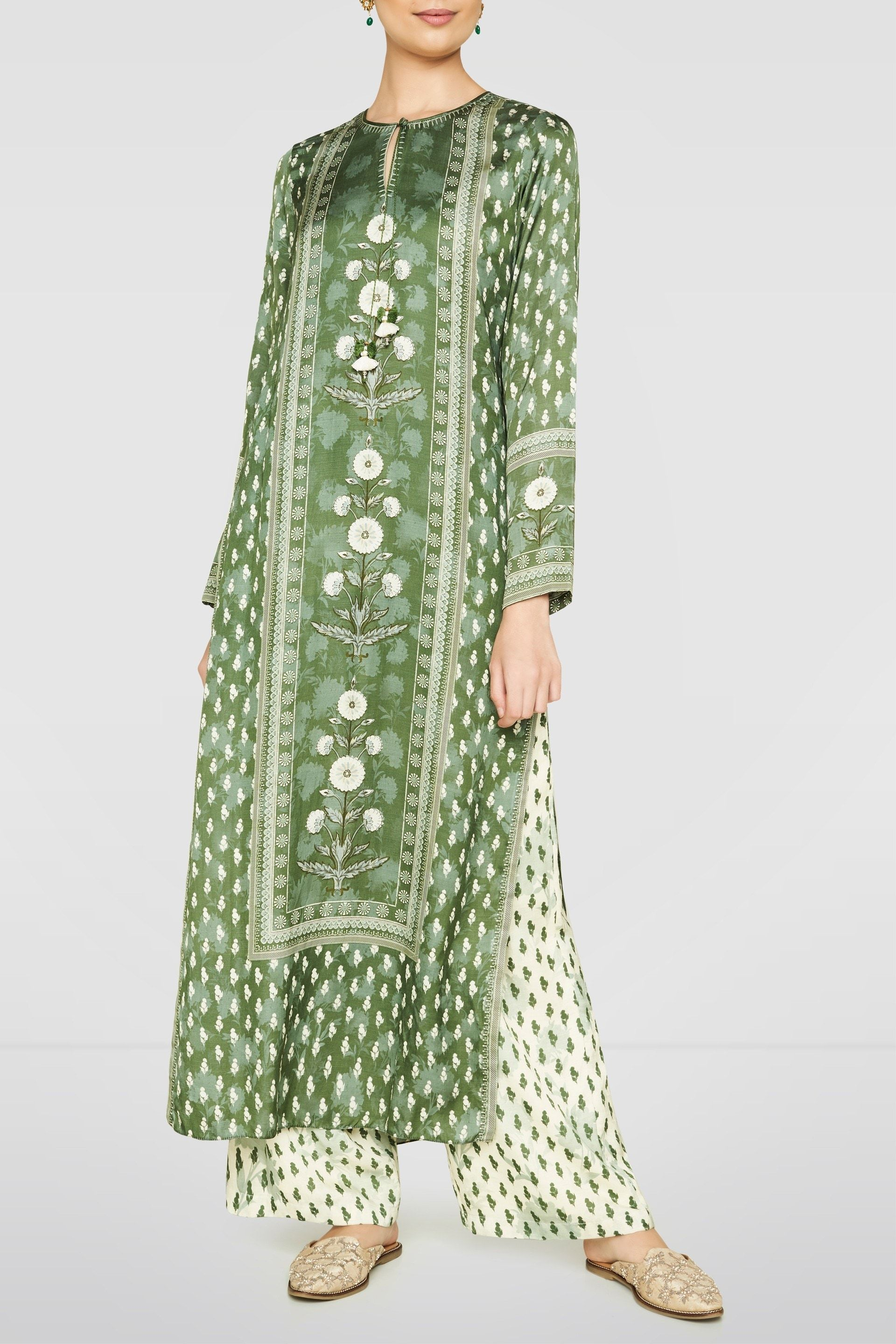 Designer Suits Buy Yamini Set For Women Online Fw19rrm259 Fw19rrm259p Green Anita Dongre In 2020 Indian Designer Outfits Embroidery Suits Design Fashion