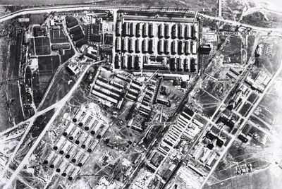 Here is an aerial view of Auschwitz in 1944. This was the largest of all concentration camps built by the order of Heinrich Himmler.