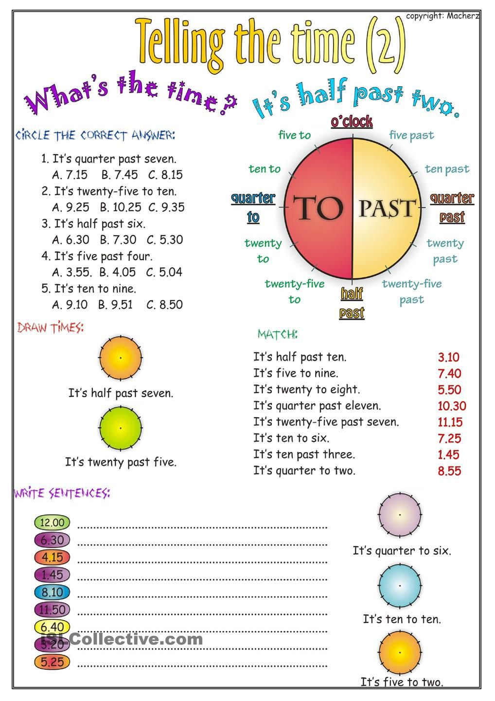 Telling the time worksheet part 2   Time worksheets [ 1440 x 1018 Pixel ]