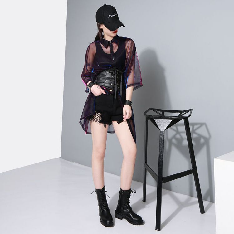 holographic summer muscial festival rave clothes wear