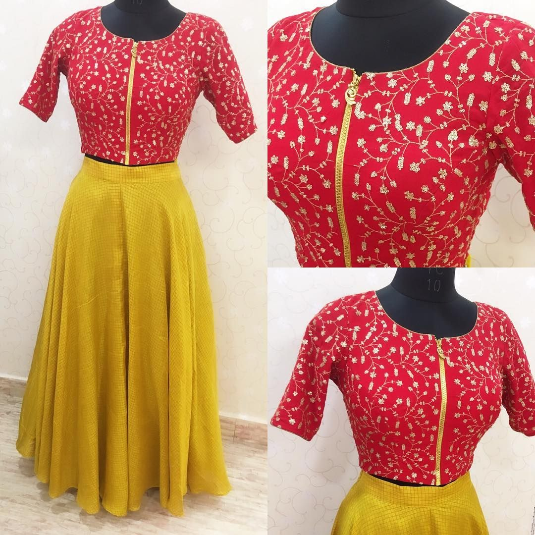 f74ee457d08069 Beautiful mustard colorskirt and red color color crop top with zip. Crop top  having floret lata design hand embroidery thread work. 28 February 2018