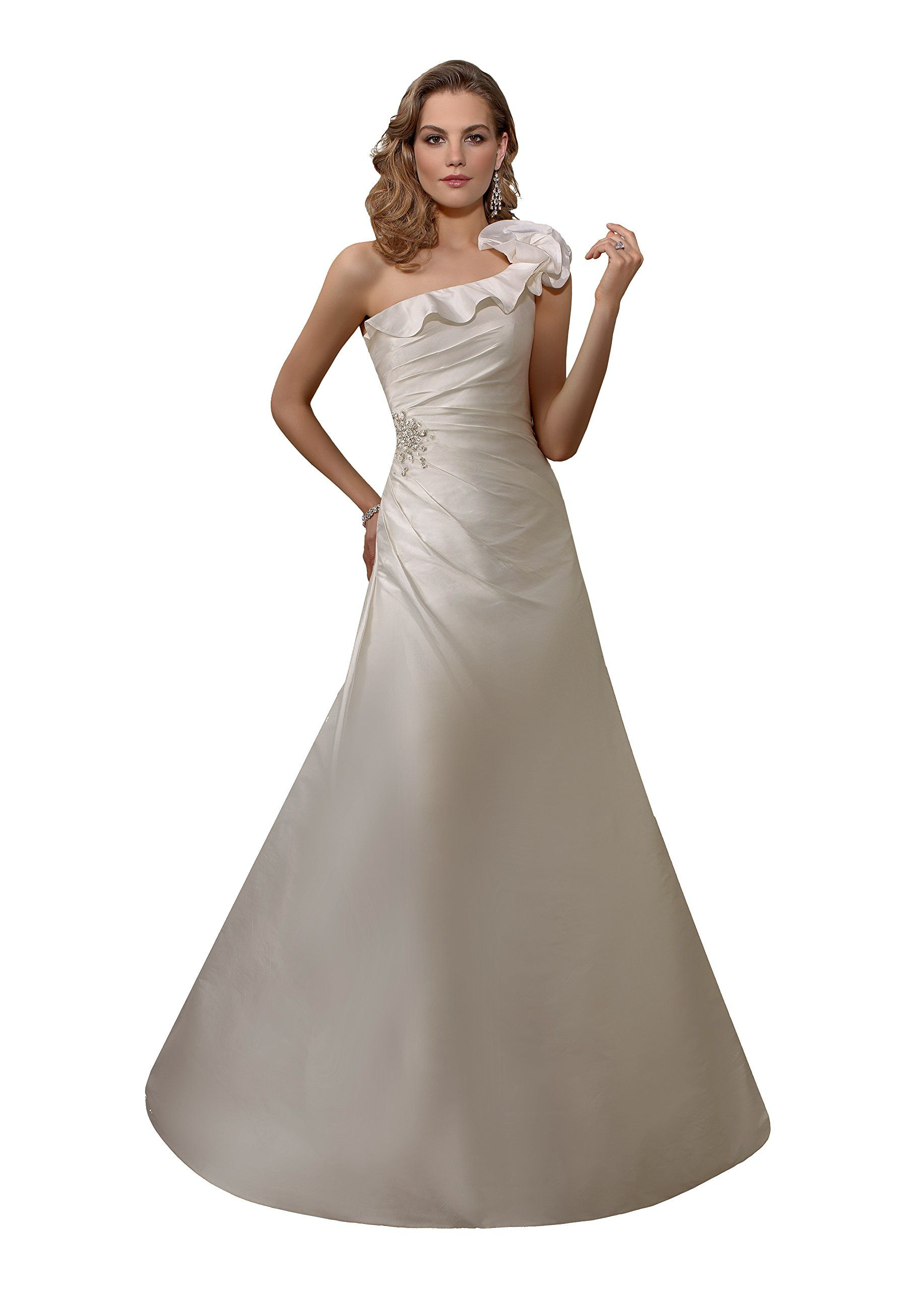 """Wedding Dress Cheap Mori Lee Destination Bridal Gown 6718 - White/Silver, size 8. Authentic Mori Lee Voyage Wedding Dress - Style: 6718. Size 8 = 35"""" bust, 26.5"""" waist, 38.5"""" hips. One Shoulder; Ruffle Neckline; Shoulder Flower. Side Gathered, Beaded Waist; Mid Back. Long A-Line Skirt; Train; White Taffeta with Silver details."""