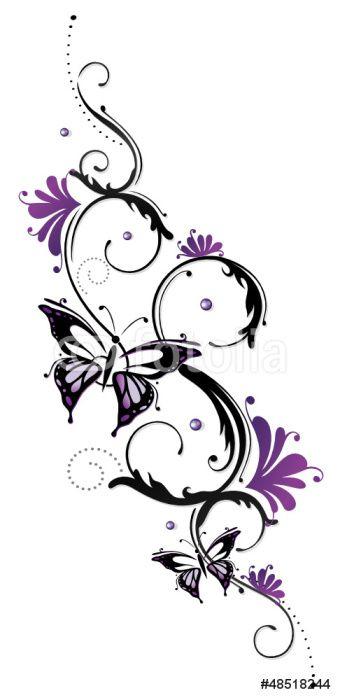 Papier Peint Vinyle Ranke, flora, fleur, fleurs, papillon, pourpre
